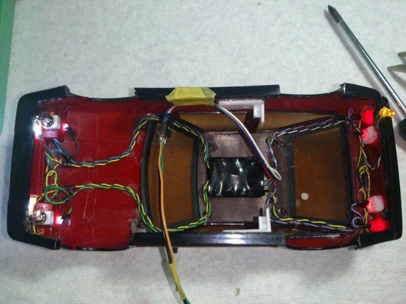 AE86 ミニッツ電飾 レッドバージョン 配線レイアウト